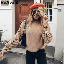 BeAvant Lace up knitted sweater women jumper O neck casual autumn winter sweater 2018 Short pullover sweaters ladies pull femme