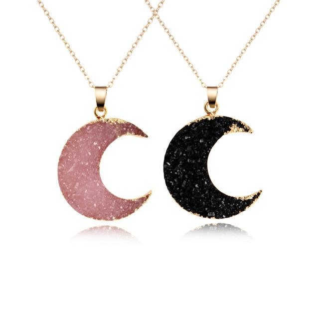 1PC Fashion Druzy Resin Moon Pendant Necklace For Women Gold Color Black Drusy C