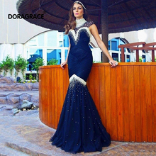 Doragrace Gorgeous Cap Sleeve High Neck Mermaid Evening Gowns Beaded Dresses