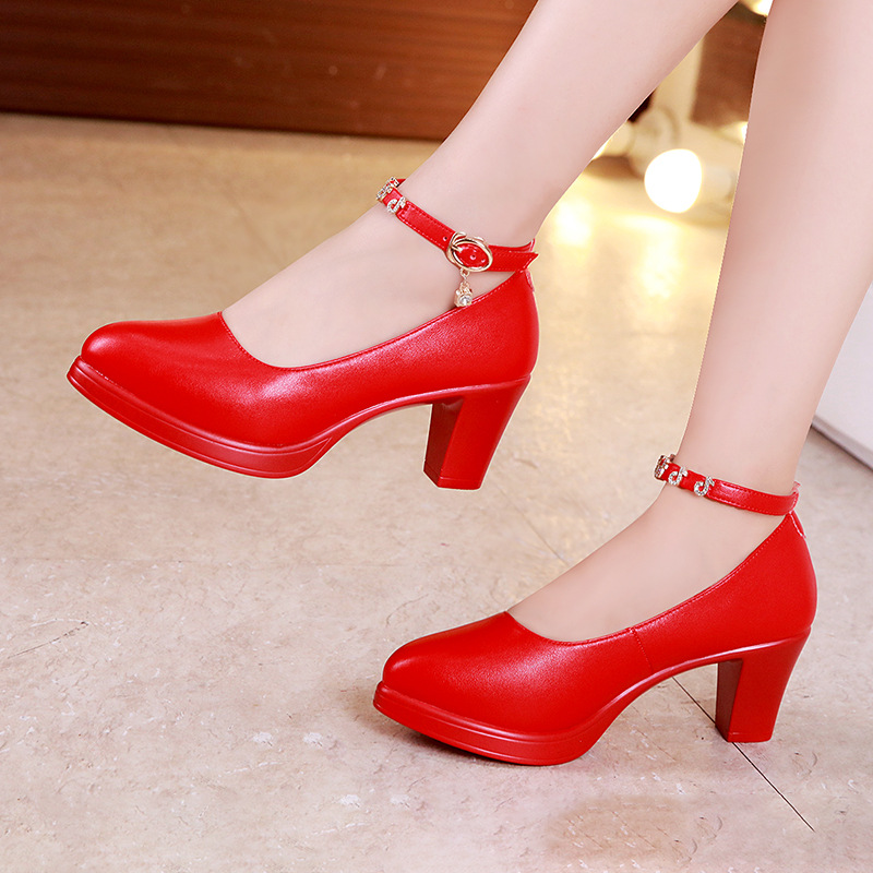 Plus Size 32-43 Block Heel Platform Pumps Women Wedding Shoes Red White 2019 Mary Jane Shoes Ladies High Heels Shoes Office