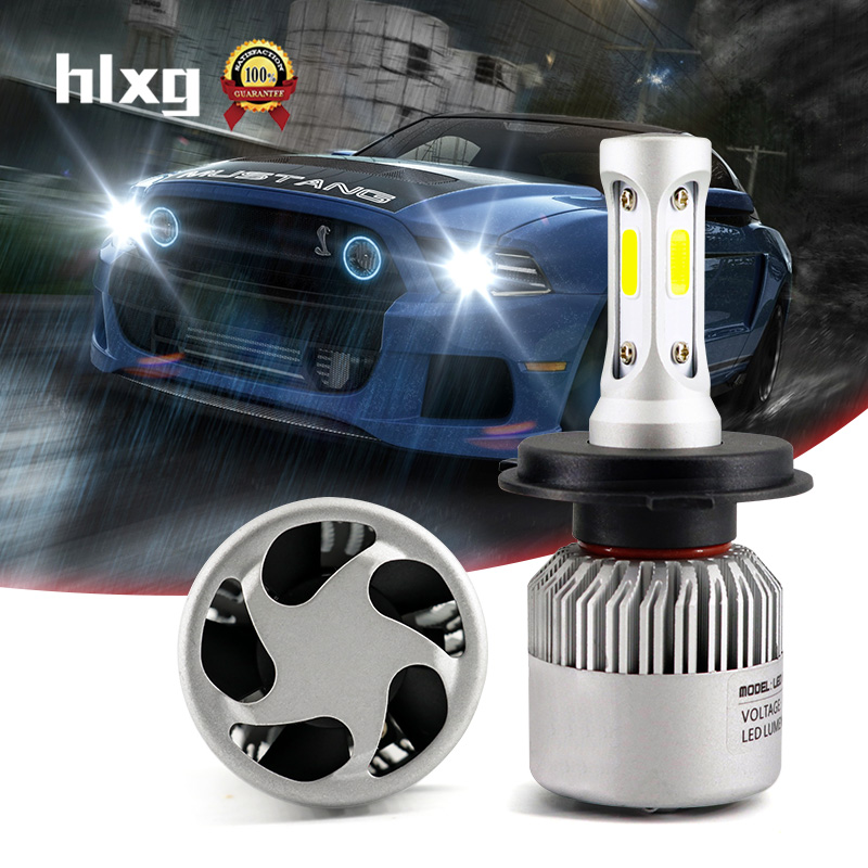 HLXG 2pcs Led H4 Lamps High Low Beam COB Chip 72W 8000LM 6500K Hb4 Led Lamp With Fan Car Headlight All In One Automobile 12V N2 all in one canbus 80w 8000lm cree chip led h4 hi