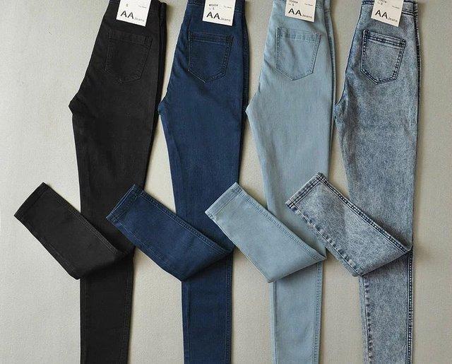 Americano Sexy Slim Hip Calças De Cintura Alta Jeans Skinny Elásticas Feminino