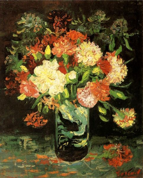 Blossom Flowers Painting Vase With Carnations By Van Gogh