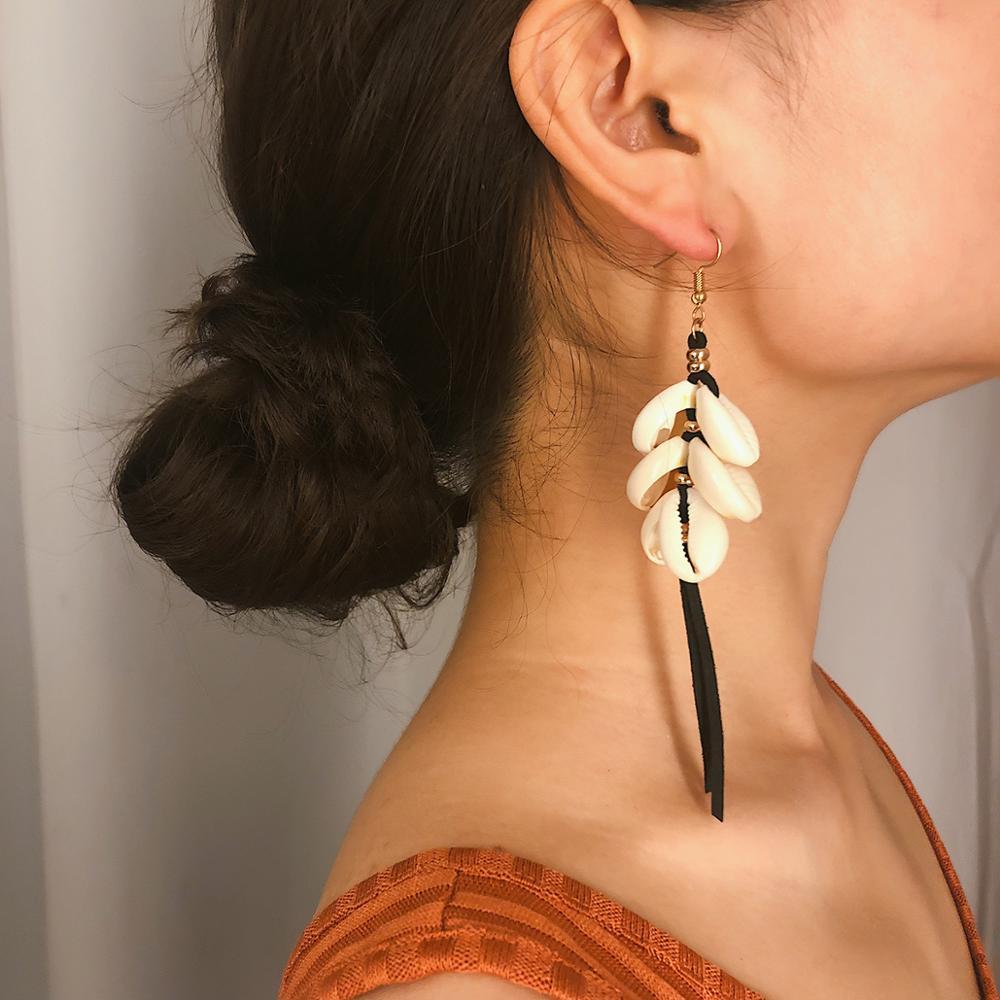 Fashion Shell Stud Earrings New Simple Retro Long Tassel for Women Trend Temperament