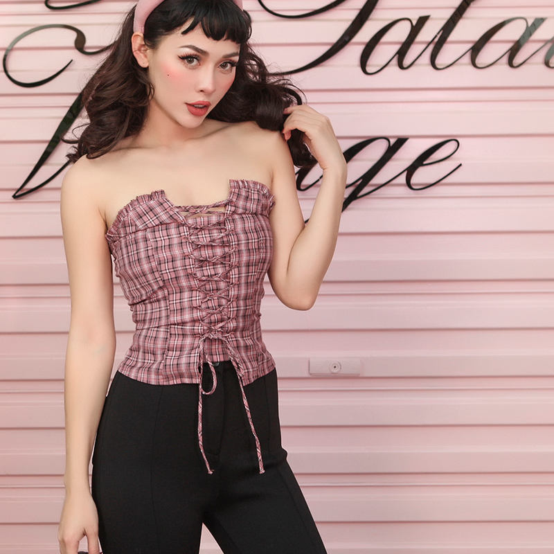 2019 Summer Vintage Stylish Corset Type Tube Top Women Adjustable Bandage Ruched Plaid Pattern Top Stretch Back Part