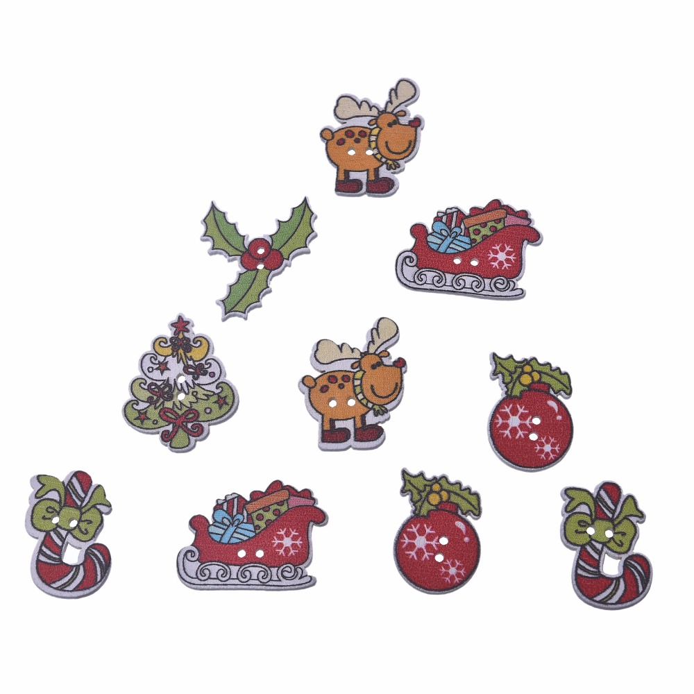 50pcs christmas buttons random mixed christmas decorative buttons mixed patterns 2 hole button embellishments for scrapbooking - Christmas Buttons