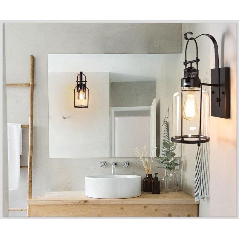 Loft industriel Vintage lampes murales rétro fer applique pour salon Bar salle de bain chambre chevet lampes verre mur LED lumières - 5