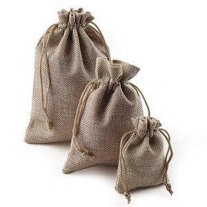 Image 1 - 10 шт рождественские льняные джутовые подарочные сумки с кулиской, мешки для свадьбы, дня рождения, вечеринки, подарочные сумки с кулиской, Детские принадлежности для душа