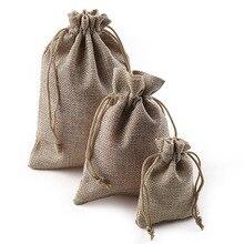 Bolsas de regalo con cordón de yute de lino para navidad, regalos de boda, fiesta de cumpleaños, bolsas de regalo con cordón, suministros para Baby Shower, 10 uds.