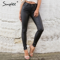 Simplee Autumn Black Leather Pants Capris Jeggings Winter Sexy High Waist Pants Women Trousers Pencil Pants