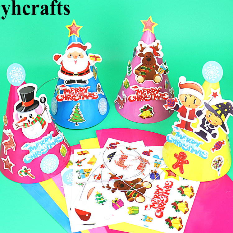 Apprehensive 8pcs/lot,4 Design Diy Cartoon Christmas Hats,create Your Own,early Educational Toys.kingergarten Crafts.xmas Gifts.wholesale Model Building Kits
