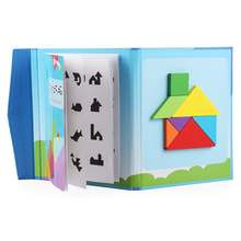 SLPF Magnetic Tangram Toys Wooden Children Early Education Colorful Jigsaw Juegos Puzzle Baby Cognitive Building Toy D17