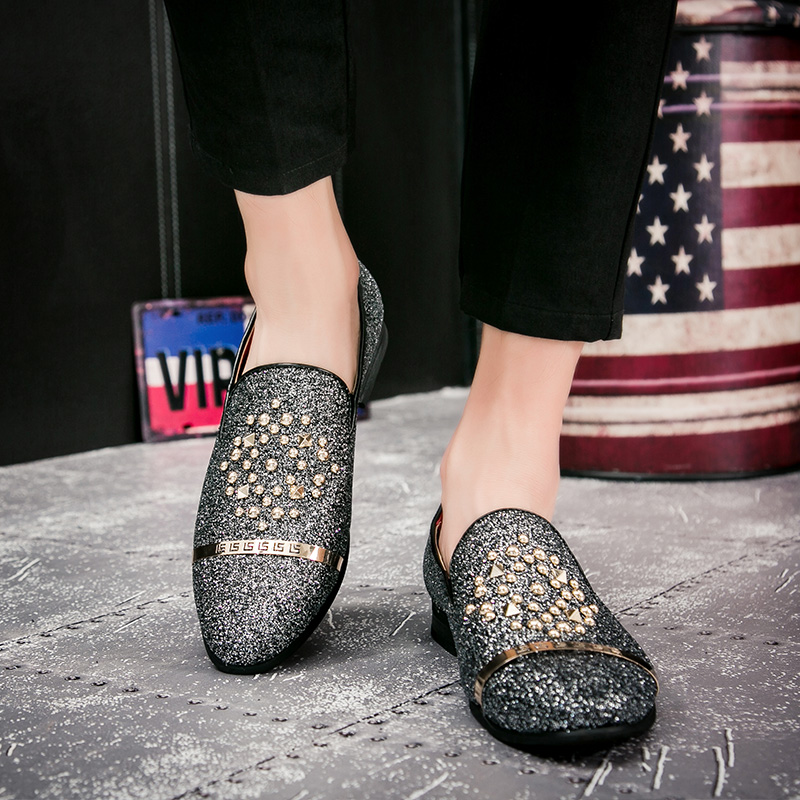 Shoes Loyal Men Black Rivet Dress Italian Shoes Slip On Men Mesh Leather Moccasin Glitter Formal Male Shoes Pointed Toe Shoes For Men New Varieties Are Introduced One After Another