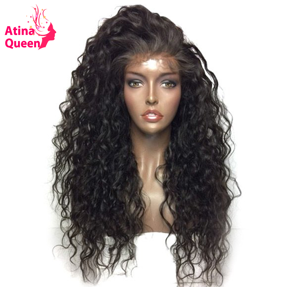 Atina Queen Hair Products Water Wave Glueless Full Lace Wigs With Baby Hair Natural Black 100