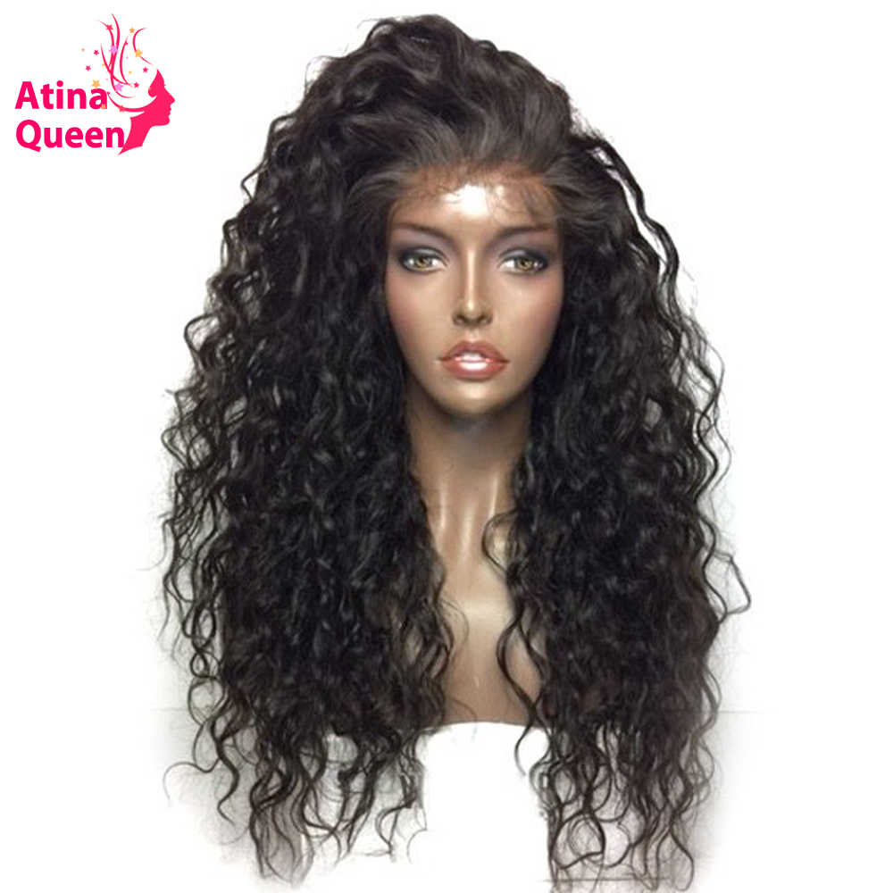 Atina Queen Hair Products Water Wave Glueless Full Lace Wigs With Baby Hair Natural Black 100 Human Hair Lace wig for Women Remy
