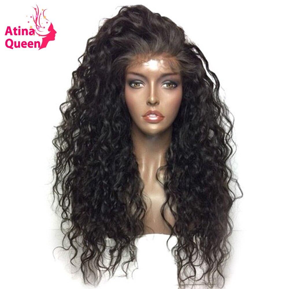 Atina produkty queen Hair wody fala Glueless pełne koronkowe peruki z dziecięcymi włosami naturalny czarny 100 ludzki włos koronki peruka dla kobiet Remy