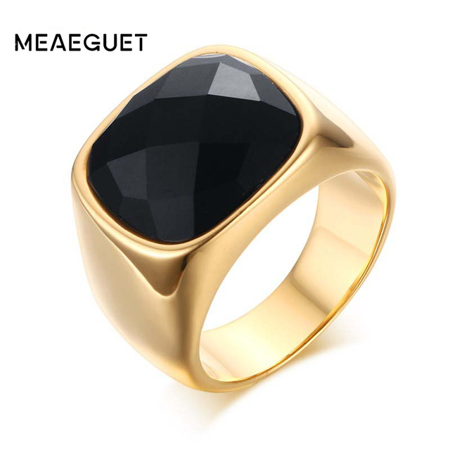 Meaeguet Gentu0027s Jewelry Vintage Rings Gold Color Stainless Steel Ring Manu0027s Black  Onyx Wedding Ring