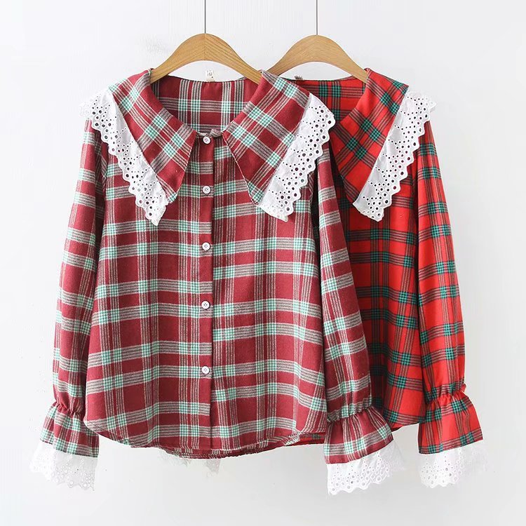Women's Clothing Kyqiao Women Plaid Shirt 2019 Female Autumn Spring Japanese Style Turndown Collar Long Sleeve Lace Plaid Blouse Tops Blusa