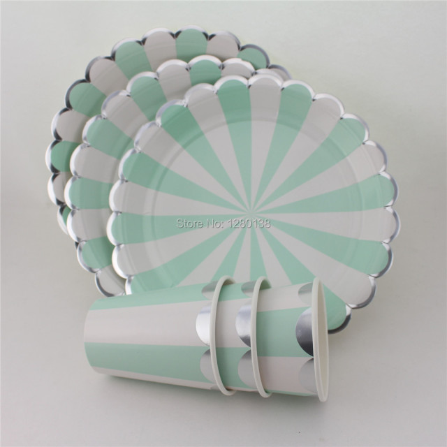 40set Wedding Decorations Table Ware Party Paper Food Plates Tea Cups Mint/Red Striped with : engagement paper plates - Pezcame.Com