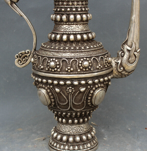 Old China Silver Inlay Gem Dragon Loong Wine Tea Pot Flagon Teapot Stoup Statue