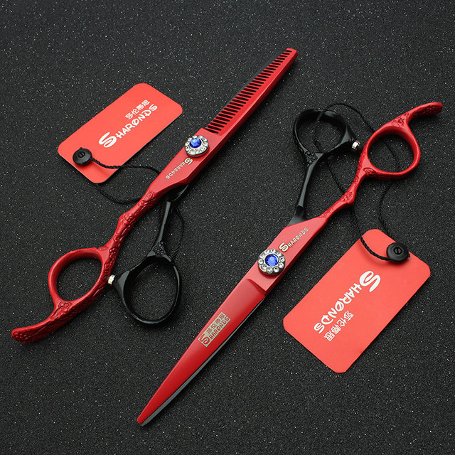 Hair stylist professional 6-inch left-handed hairdressing scissors personality tri-color barber scissors thin set 3