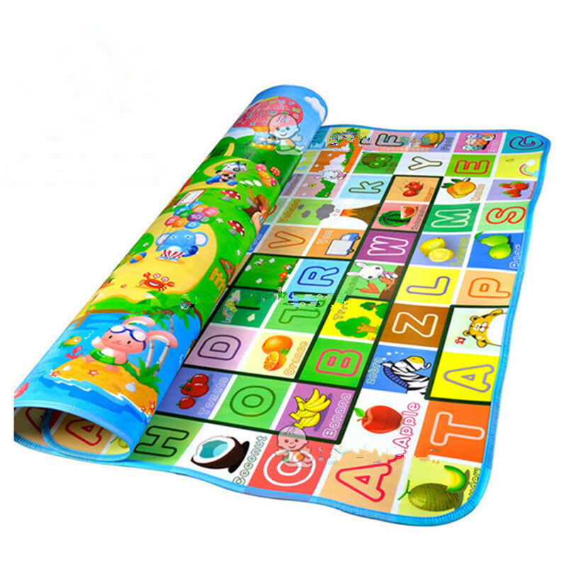 Baby Crawling Play Mat  Climb Pad Double-Side Fruit Letters And Happy Farm Baby Toys Playmat Kids Carpet Baby Game