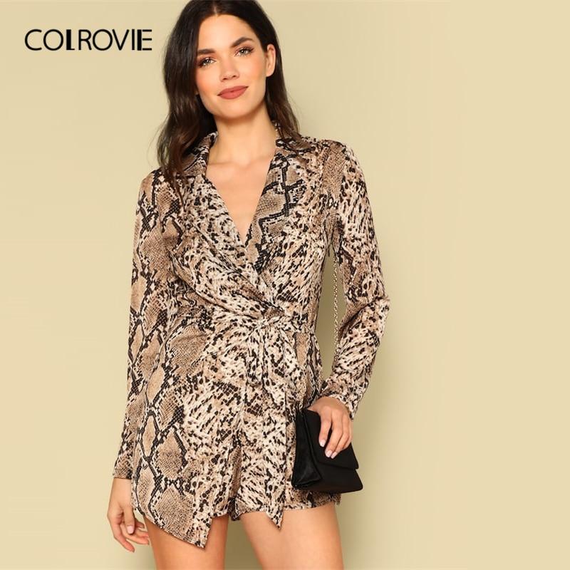 COLROVIE Brown Wrap Belted Snakeskin Print Blazer Romper Women 2019 Spring Long Sleeve High Waist Ladies   Jumpsuit   Romper