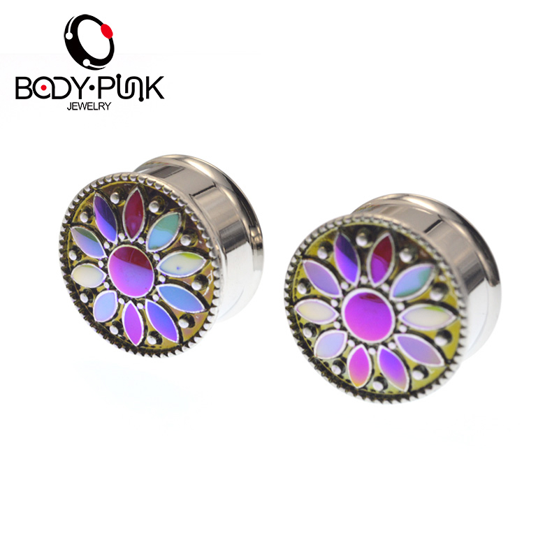 TUBUH PUNK Tunnel Tandu Stainless Steel Iridescent Plating Ear Plugs Earring Expander Pengukur 6-16mm Punk Perhiasan PLG 078