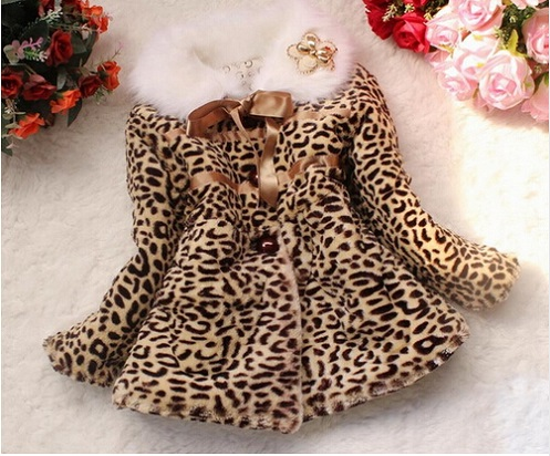 Best selling! Baby Children outerwear jacket Girls Leopard faux fox fur collar coat clothing with bow Autumn Winter wear Clothes