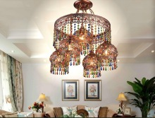 Crystal Pendant Lamps Lighting Fixtures, 4+1L Bohemian Style Semicircel Iron Ceiling Pendant lamps,AC110-240V Free Shipping