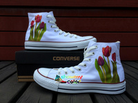 Womens Mens Converse All Star Girls Boys Shoes Floral Tulip Original Design Hand Painted Shoes High Top White Canvas Sneakers
