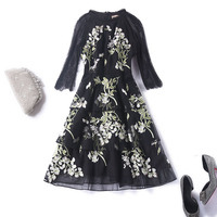 Women fashion floral embroidery black lace party dress patchwork mesh 3/4 sleeve layered dresses plus size new 2018 autumn