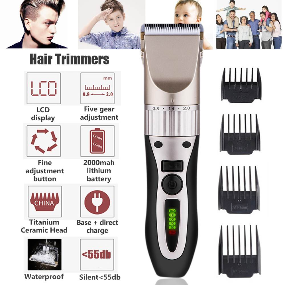 LCD Cord/Cordless Rechargeable Hair Clippers Electric Hair Trimmers For Men Kids Waterproof Shaver Cut Machine Set 2000MAH