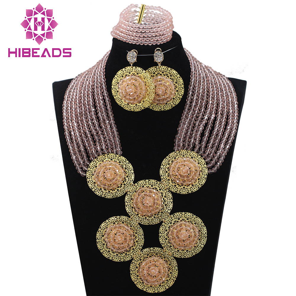 Trendy Baby Pink 10 Rows Nigerian Wedding African Costume Jewelry Set Fashion Beads Crystal Necklace Set Free Shipping ABH170Trendy Baby Pink 10 Rows Nigerian Wedding African Costume Jewelry Set Fashion Beads Crystal Necklace Set Free Shipping ABH170