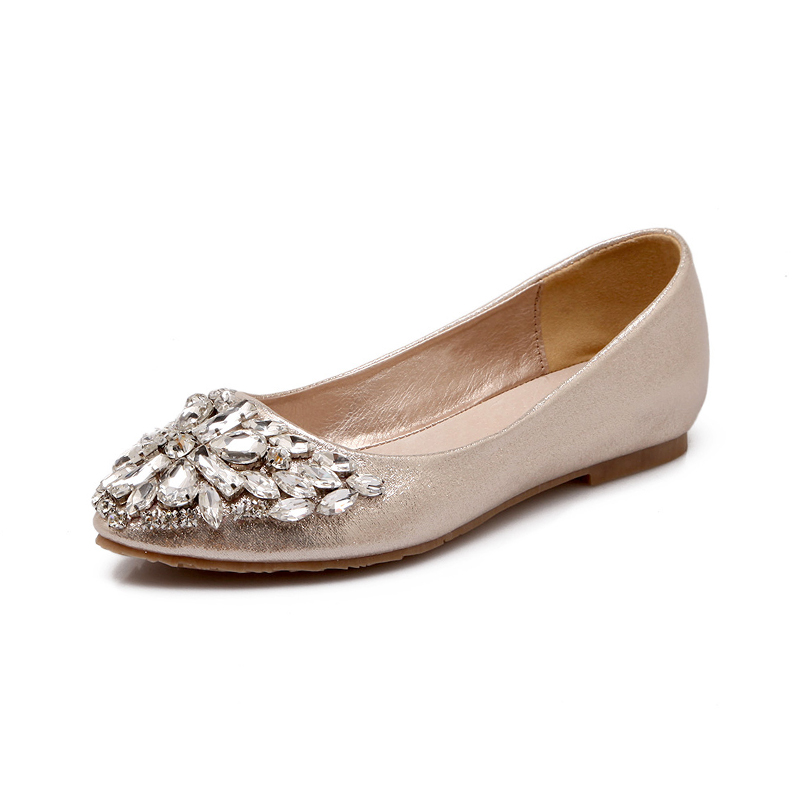 2017 Spring New Diamonds Flat Shoes Women Casual Single Shoes Shallow Mouth Pointed Toe Bling Rhinestone Gold Ballerina Flats gold sliver shoes woman for 2016 new spring glitter bling pointed toe flats women shoes for summer size plus 35 40 xwd1841