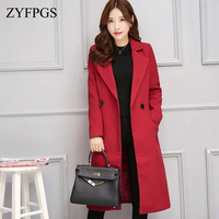 ZYFPGS 2018 Winter Top Women's Elegant Coat Classic Solid Fashion wool Woman Coat Red Female Fashion Jacket Brand Design Z0822