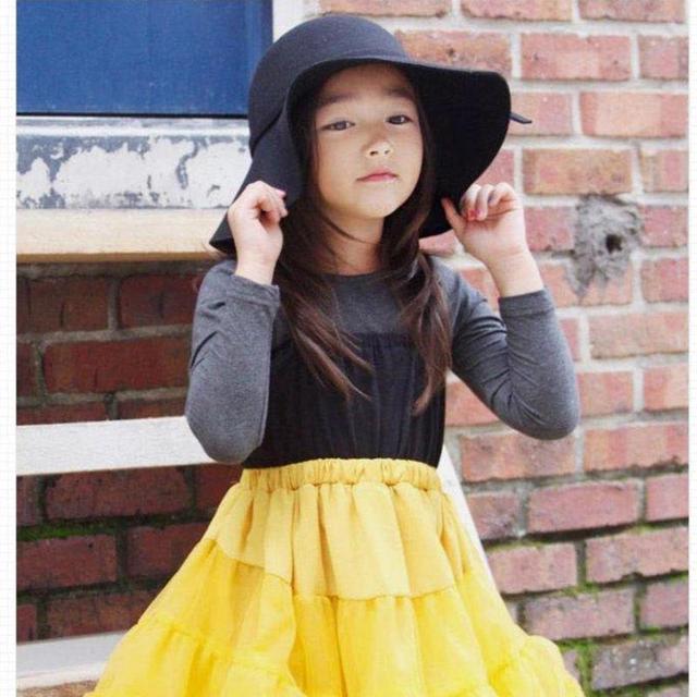 1043ffe72ecad Autumn Winter Warm Kids Boys Girls Vintage Wide Brim Cap Soft Wool Felt  Bowknot Bowler Floppy Children Sun Hat Beach Hat