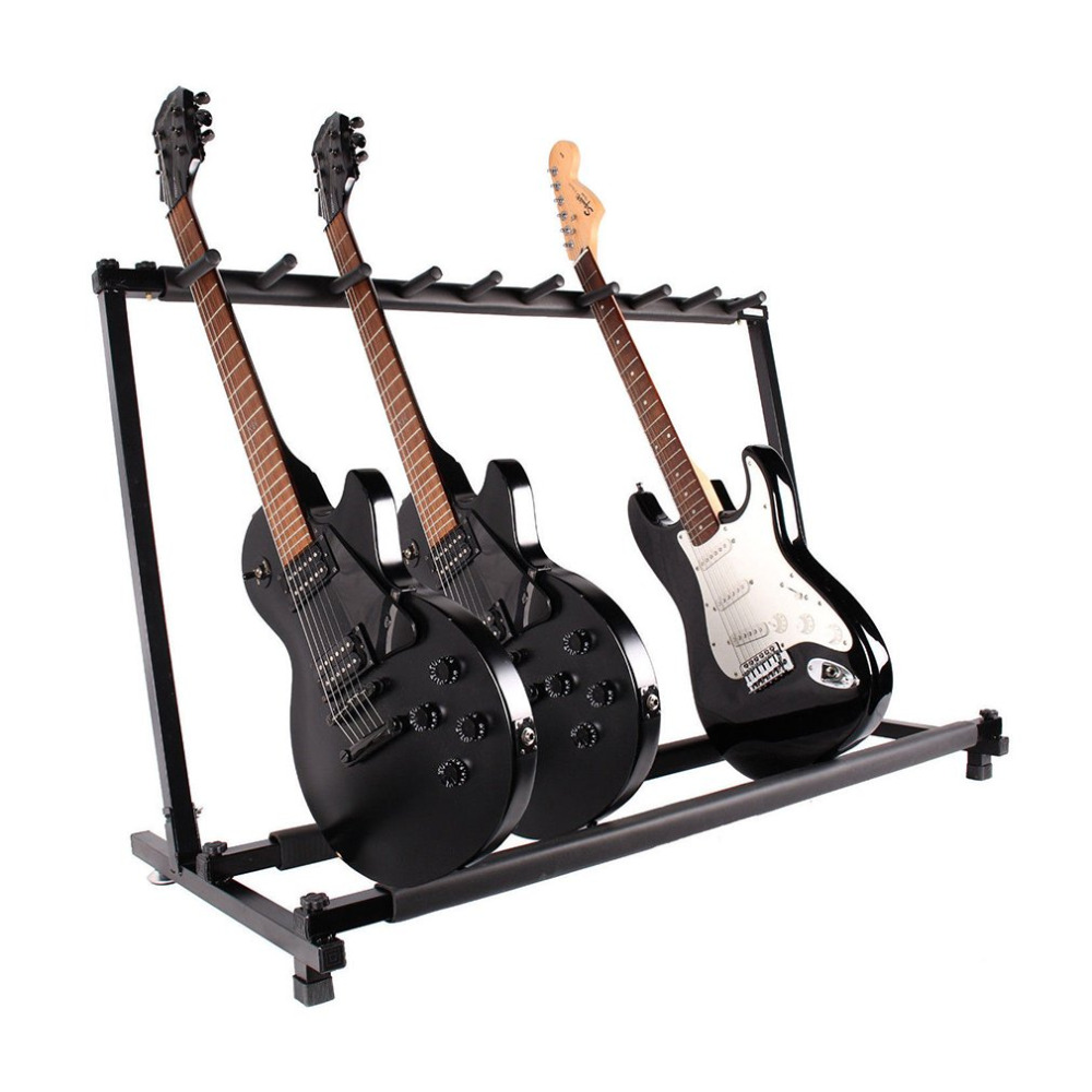 Ship From US Stable Multiple Folding Display Holder Stand Rack Band Stage for Guitar Bass 9 guitars parts Accessories 49 golf ball display case cabinet holder rack w uv protection