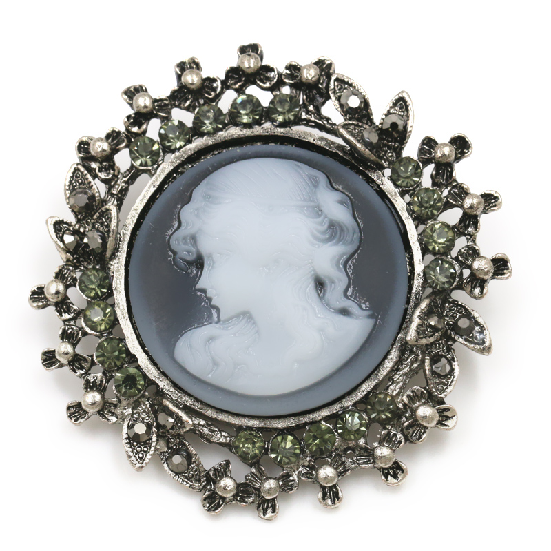 baiduqiandu Factory Sale Elizabeth Cameo Brooches in Antique Silver and Antique Gold Color Plated