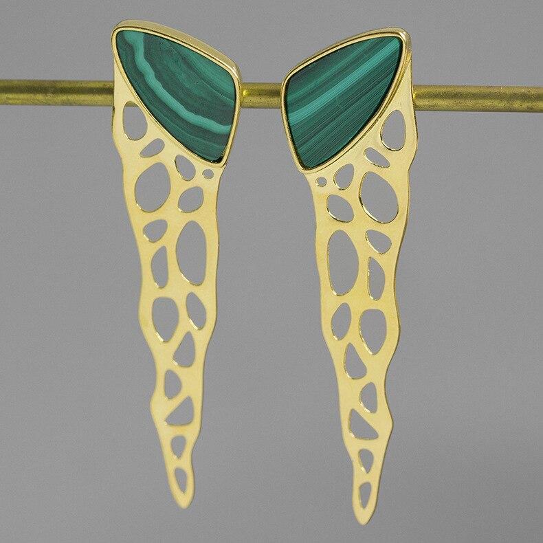 INATURE 925 en argent Sterling vert Malachite boucles d'oreilles de luxe bijoux cadeau