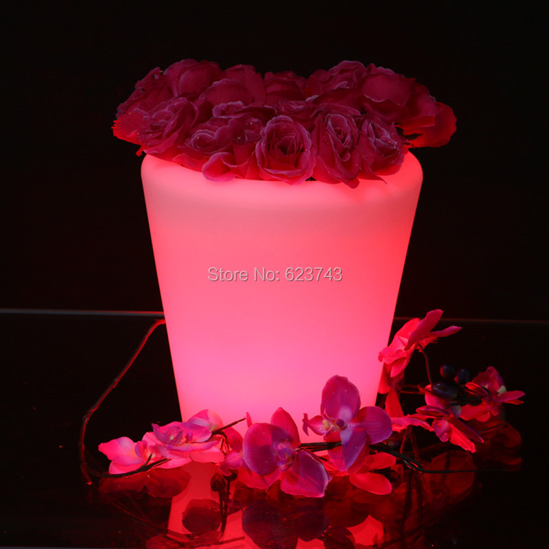 ФОТО Waterproof H29CM Multipurpose 16 Colors change LED Round S flower pot rechargeable LED glow Ice Bucket with remote control