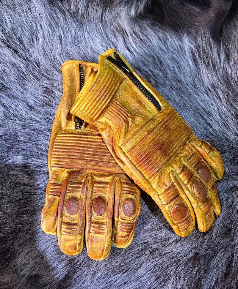 ¡Novedad! guantes Vintage de piel auténtica desgastada de alta calidad, guantes de moto para hombre, guantes para moto Kalen, Nueva joyería única para hombre, pulsera de amuleto de motocicleta de acero inoxidable, brazalete de cuero duradero Rock Punk, regalo barato genial