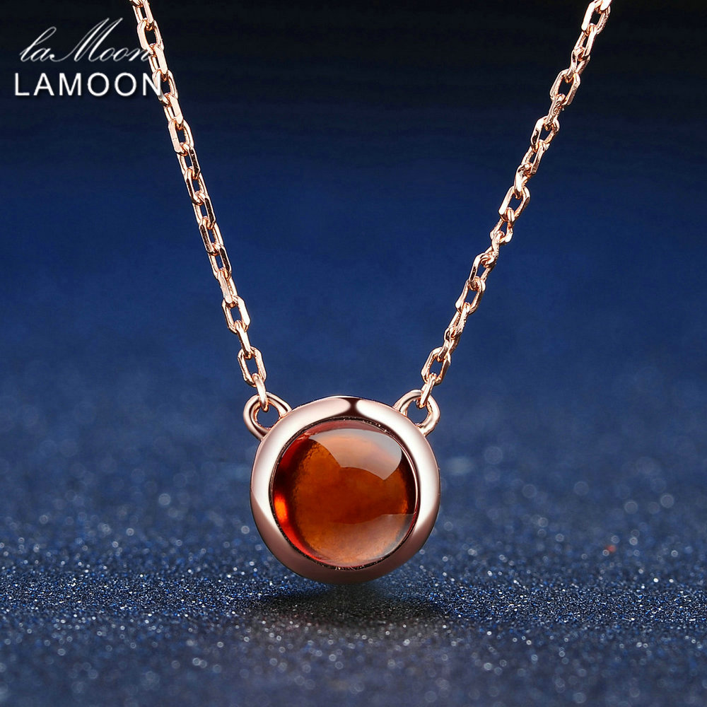 LAMOON 6mm 1.2ct 100% Natural Round Orange Red Garnet 925 Sterling Silver Jewelry  Chain Pendant Necklace S925 LMNI026
