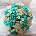 Ventas calientes nuevo ramo de la boda 18 unid rosa mano de las novias ramo azul simulación lanzar mano flores ramo de novia