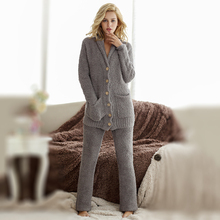Pajama-Set Nightwear Twinset Winter Sleepwear Long-Pants Casual Women's And with Super-Soft