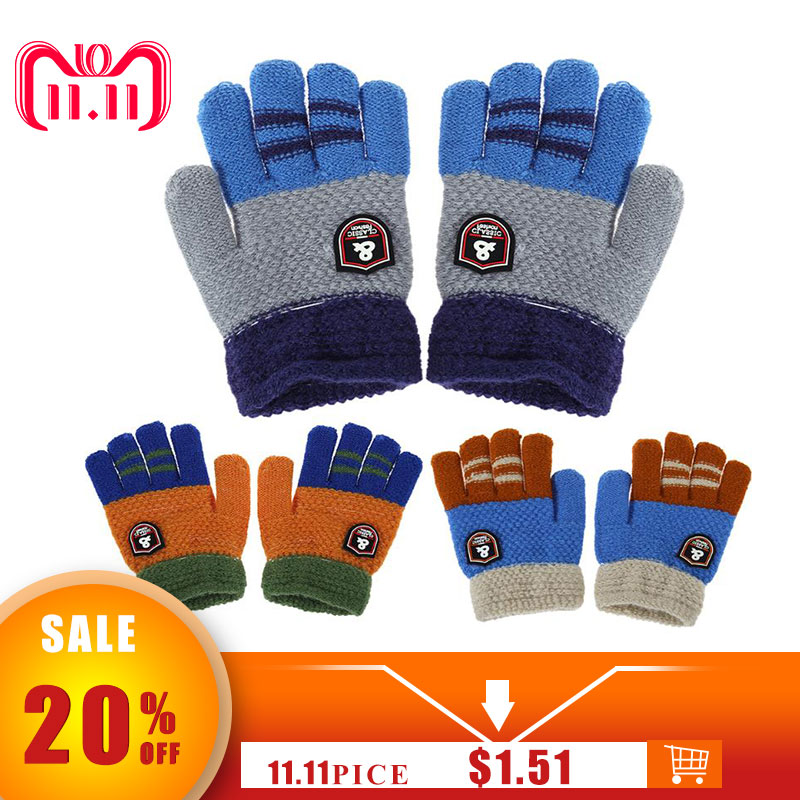 Winter Kids Baby Warm Gloves Cartoon Children Knitted Stretch Mittens Boys Girls Patchwork Elastic Full Finger Gloves Hand Muff все цены