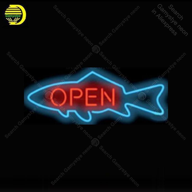 Personnalisé poisson néon signe verre Tube néon ampoules bière Bar chambre affichage accessoires néon lumière décor chambre 17x14 pouces