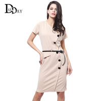 CLEARNANCE Fashion Women Summer Work Dresses Elegant Short Sleeve Professional Belted Bodycon Office Dress Female vestido C115