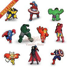Mix 50pcs/lot Avengers Hulk America captain Pins badges brooches Kid's Gift DIY charms Fit For Shoe Accessories Shoes Decor(China)