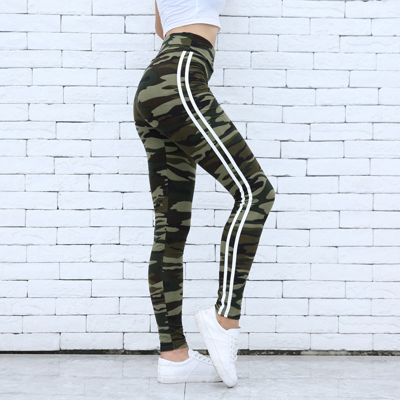 Fitness Camo Prints   Legging   Two Side White Stripes Skinny   Leggings   Elastic Waist Women Stretchy Workout   Leggings   Casual   Leggings